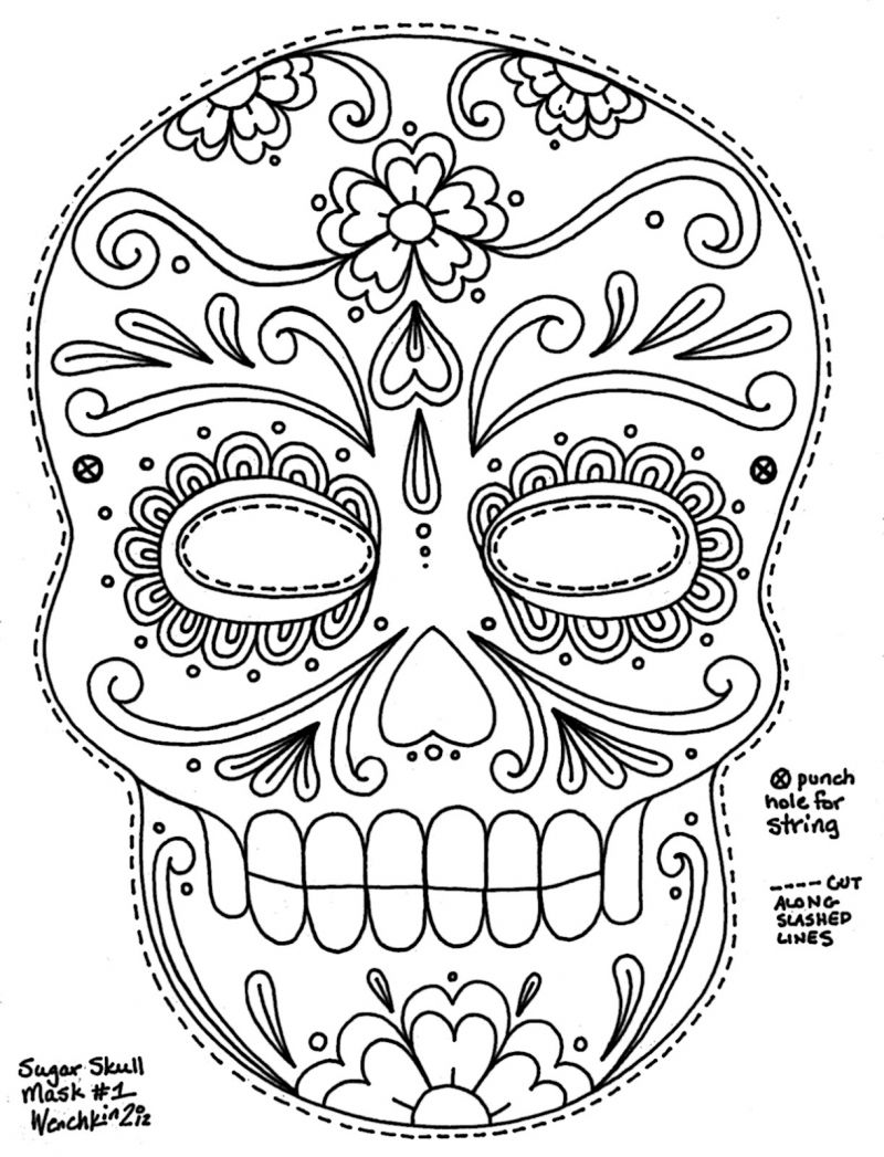 800x1047 Free Printable Sugar Skull Day Of The Dead Mask. Could Use To Make
