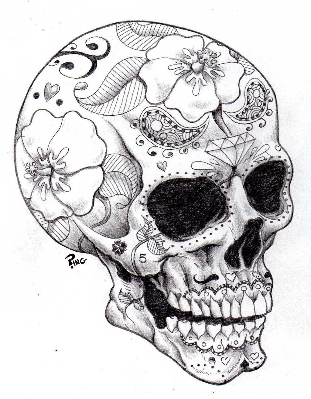 1024x1314 Skull Drawings Sugar Skull Ping By Pingriff Traditional Art