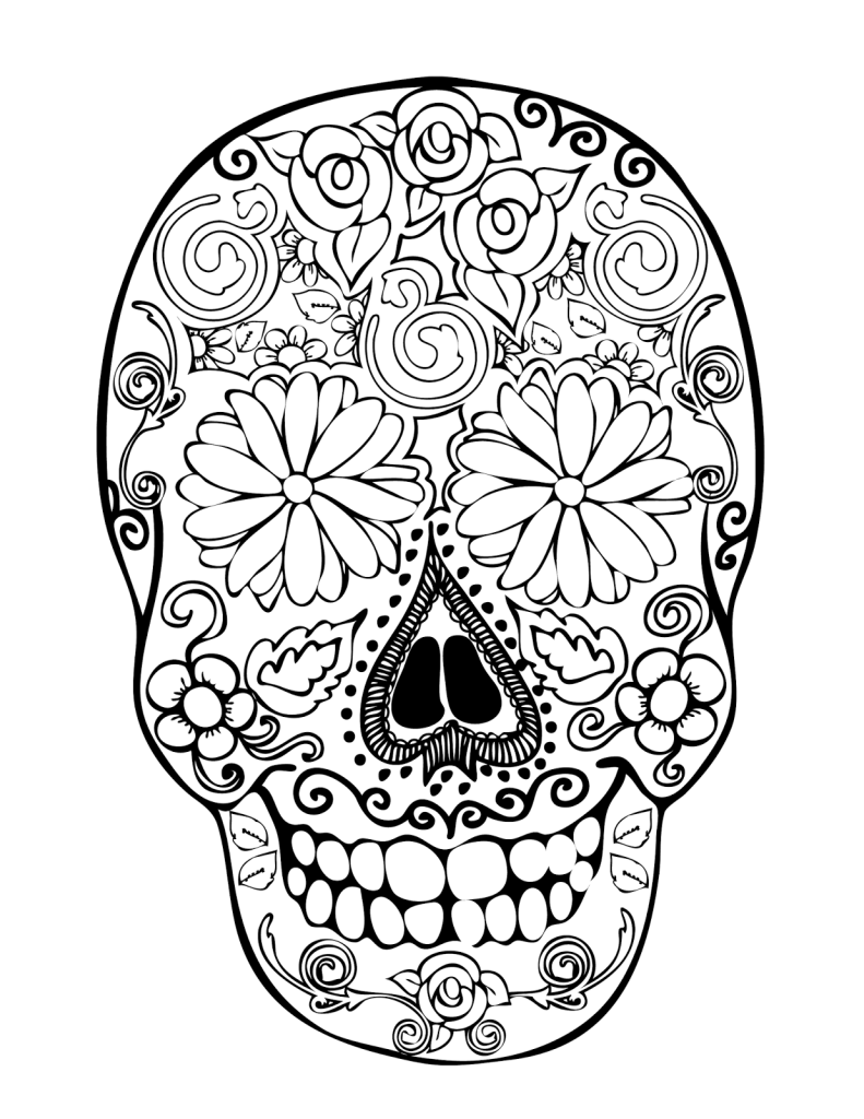 791x1024 Day Of The Dead And Sugar Skull Coloring