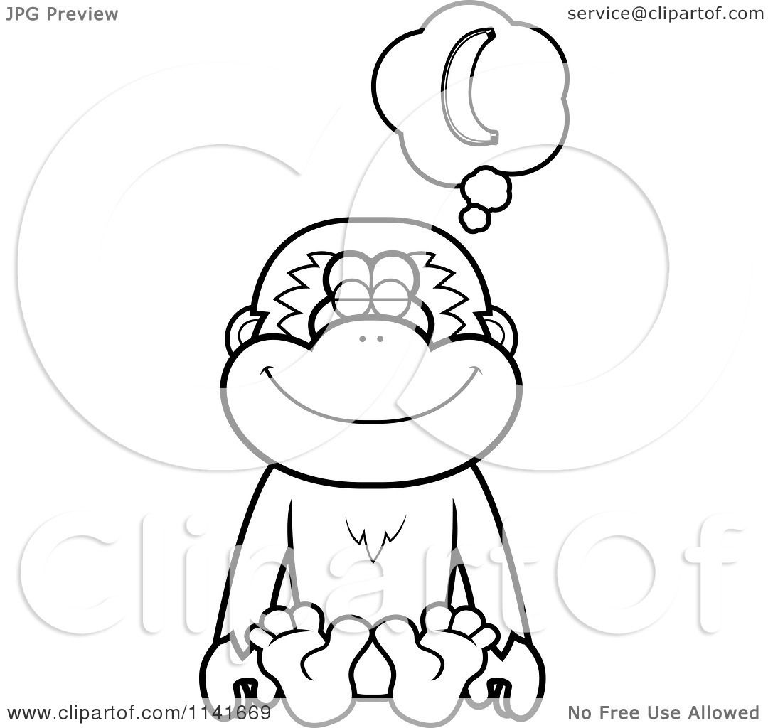 1080x1024 Cartoon Clipart A Black And White Gibbon Monkey Daydreaming