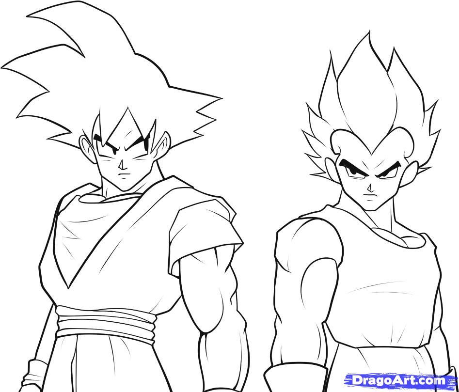 947x809 How To Draw Goku And Vegeta, Step By Step, Dragon Ball Z