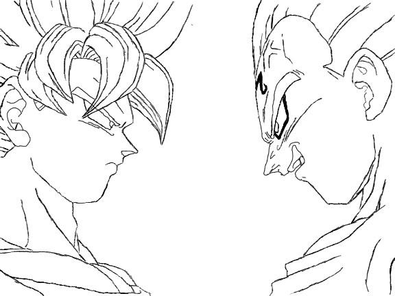576x432 Dbz Goku Vs Vegetta Lineart By Craigyp100