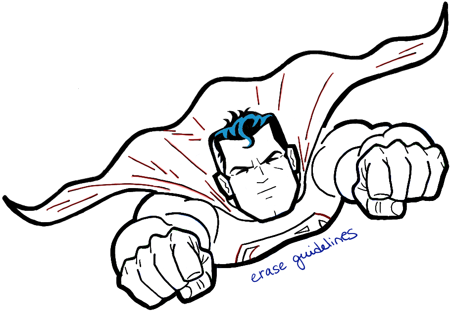 909x632 How To Draw Superman From Dc Comics In Easy Step By Step Drawing