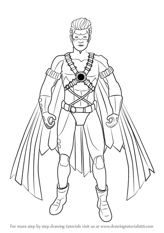 566x800 Learn How To Draw New 52 Robin (Dc Comics) Step By Step Drawing