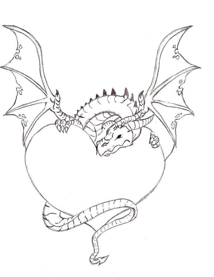 696x900 Dragon Wrapped Around A Love Heart By Iplaydead45