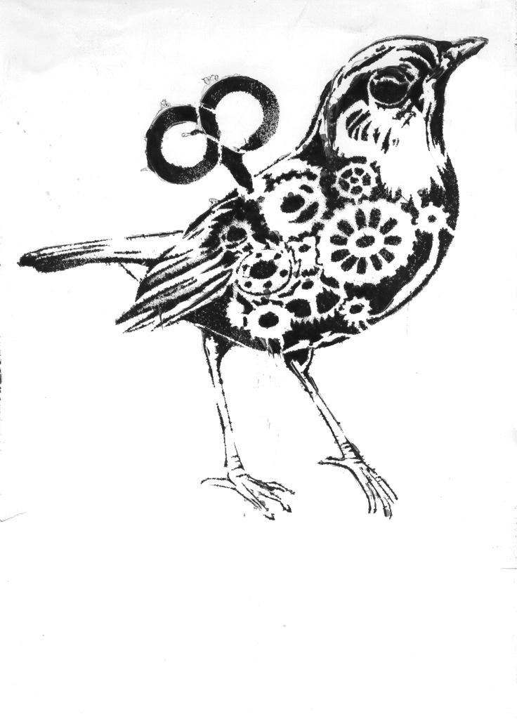 736x1024 Cyborg Bird Stencil By Shvepseg