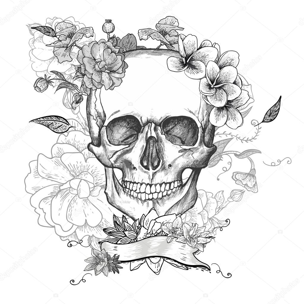 1024x1024 Skull And Flowers Day Of The Dead Stock Vector Depiano