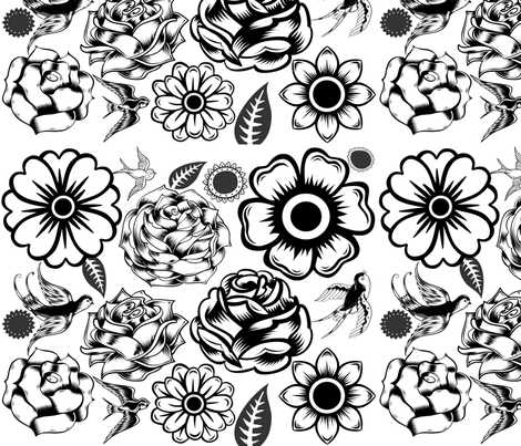 470x403 Day Of Dead Flowers Fabric