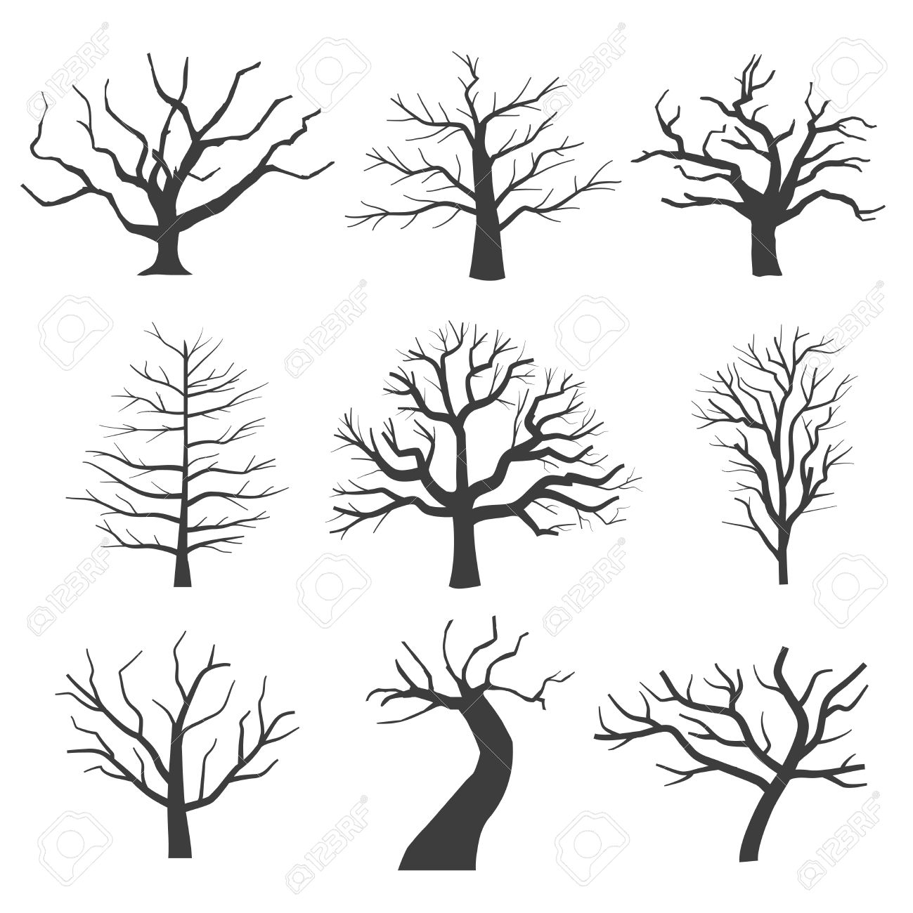 1299x1300 Dead Tree Silhouettes. Dying Black Scary Trees Forest Vector