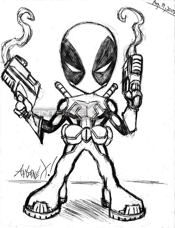 It's just an image of Peaceful Chibi Deadpool Drawing