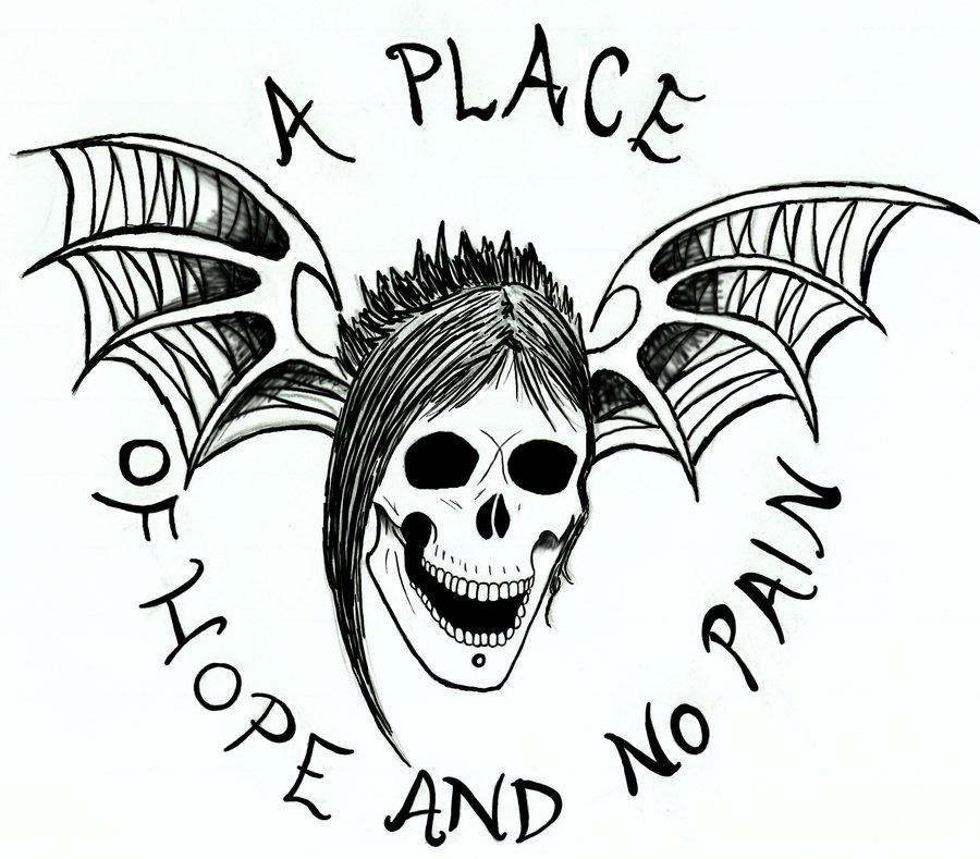 900x789 Avenged Sevenfold ~ Deathbat (Vectorpng) Bw Logo By