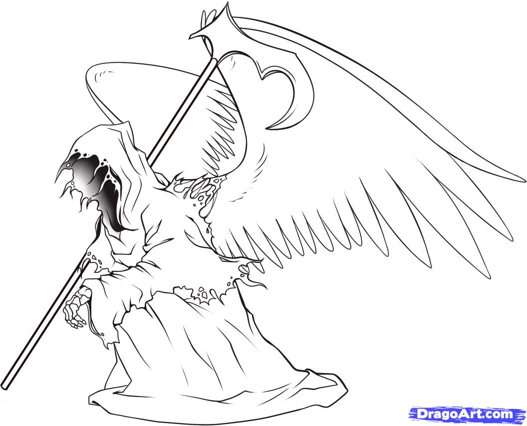 1056x854 Angel Of Death Drawing How To Draw Death, Step By Step, Tattoos