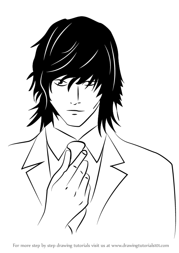 596x842 Learn How To Draw Teru Mikami From Death Note (Death Note) Step By