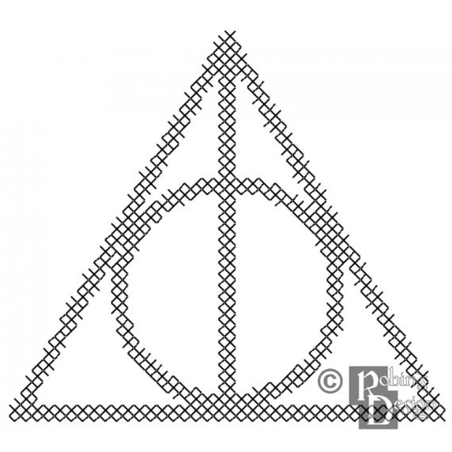 900x900 Deathly Hallows Symbol For Shirt Patch Cross Stitch Pattern Pdf
