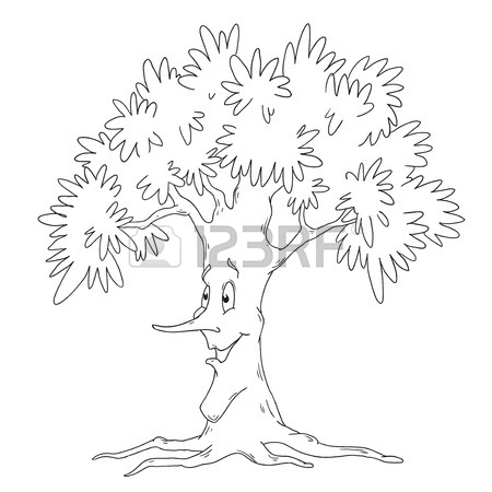 450x450 Tree Coloring Book. Deciduous Tree Vector Isolated On White