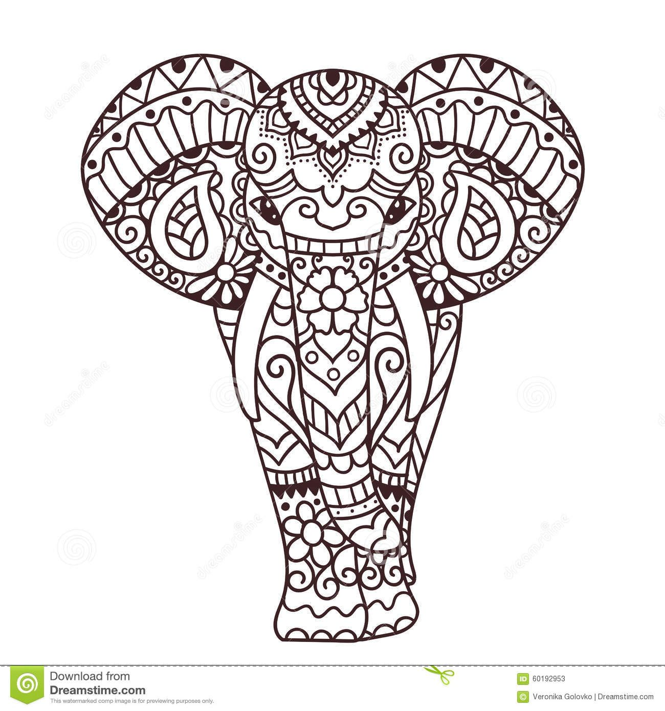 1300x1390 Decorative Elephant Illustration Stock Vector