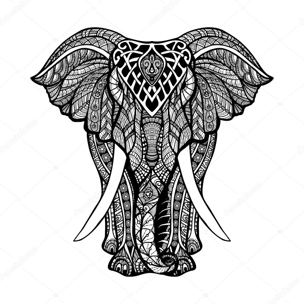 1024x1024 Decorative Elephant Illustration Stock Vector Macrovector