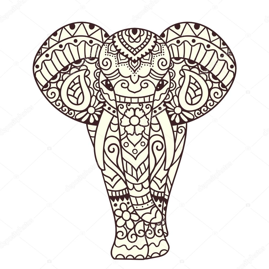 1024x1024 Decorative Elephant Illustration Stock Vector Qilli