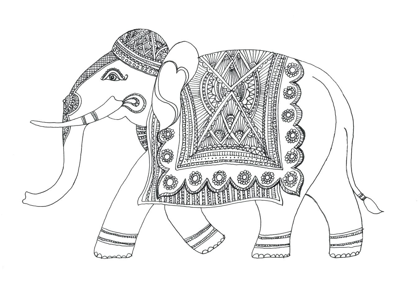 Decorated Elephant Drawing at GetDrawings.com | Free for personal ...