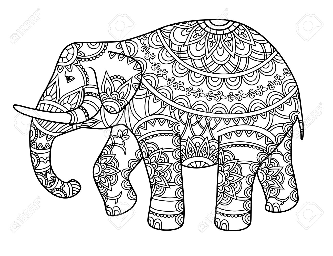 1300x998 Hand Drawn Decorative Outline Elephant With Indian Patterns