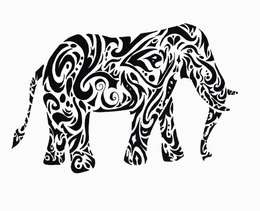 900x729 Black Tribal Elephant Tattoo Stencil By Annie