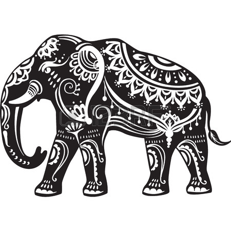 450x450 Stylized Decorated Elephants And Lotus Flower Royalty Free