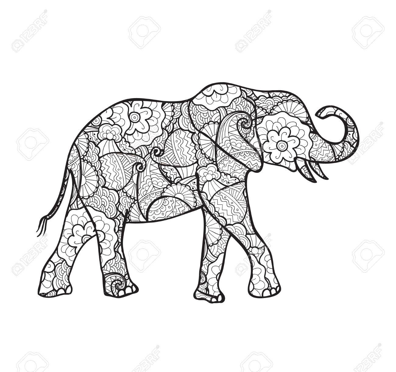 1300x1221 Vector Elephant Silhouette Decorated With Abstract Pattern Royalty