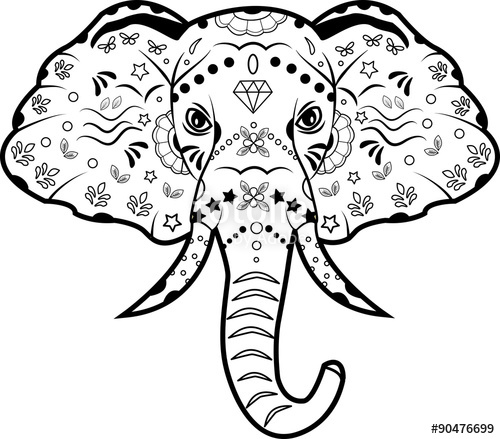 500x439 Vector Illustration Of A Black And White Decorated Elephant's Head