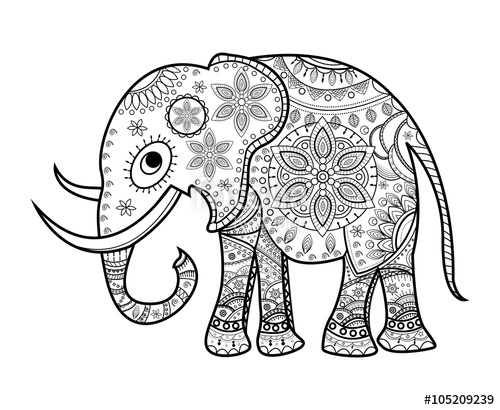 500x410 Black And White Decorated Elephant On White, Elefante Decorato