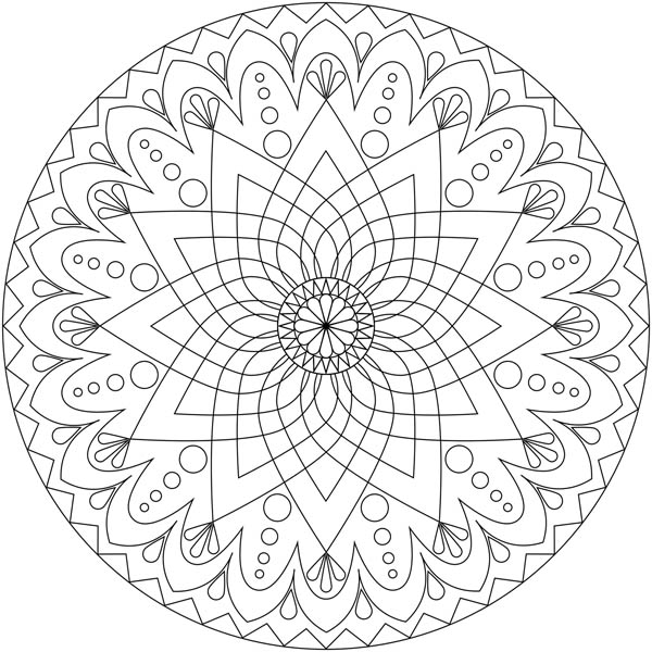 600x600 Drawing Mandala Decoration Coloring Pages Batch Coloring