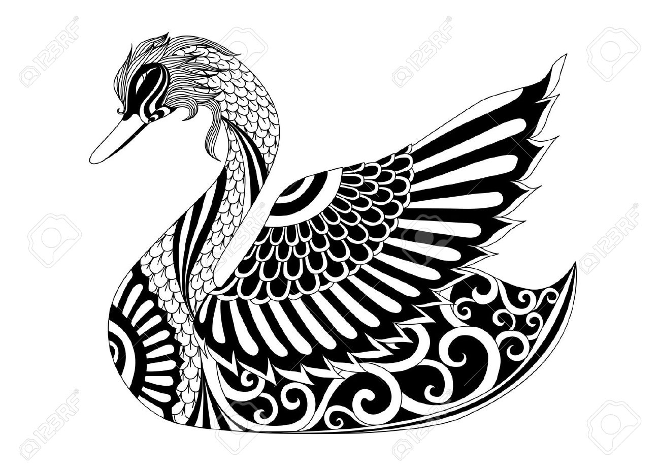 1300x919 Drawing Swan For Coloring Page, Shirt Design Effect, Logo, Tattoo