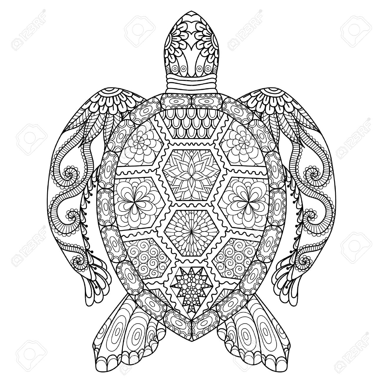 1300x1300 Drawing Zentangle Turtle For Coloring Page, Shirt Design Effect