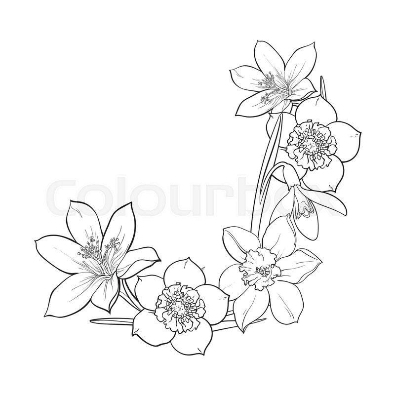 800x800 Half Frame Of Spring Flowers, Decoration Element, Sketch Vector