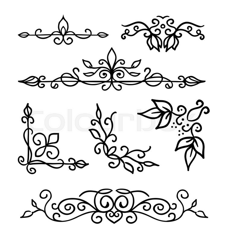 753x800 Hand Drawn Decoration Elements, Frames, Page Divider And Border