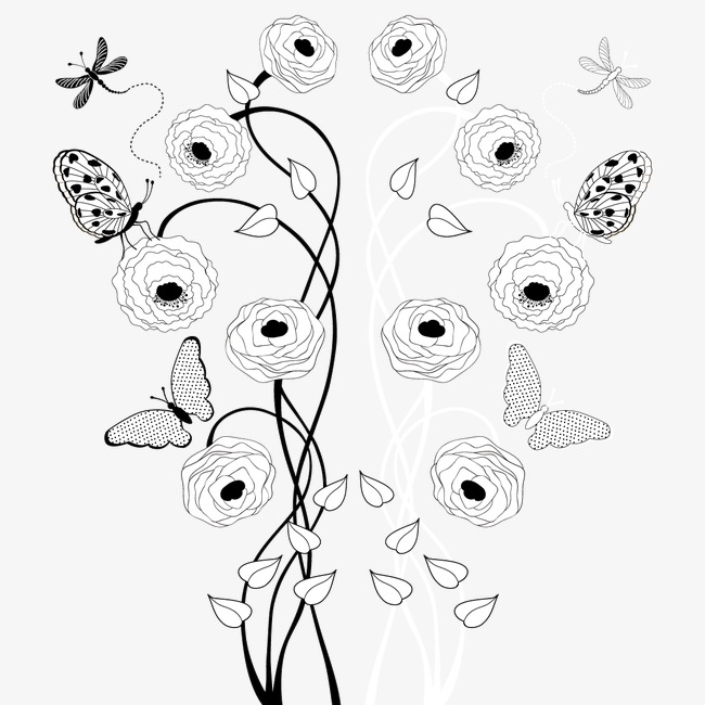 650x650 Butterfly Painted Floral Decoration Vector Line Drawing, Hand