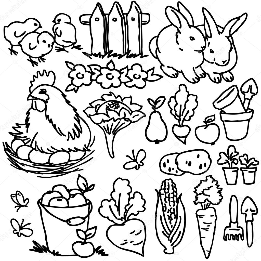 1024x1024 Cartoon Farm Animals, Vegetables, Fruits And Decoration Elements