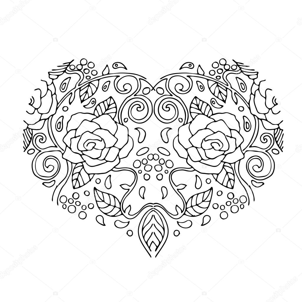 1024x1024 Decorative Love Heart With Flowers Valentines Day Card. Coloring