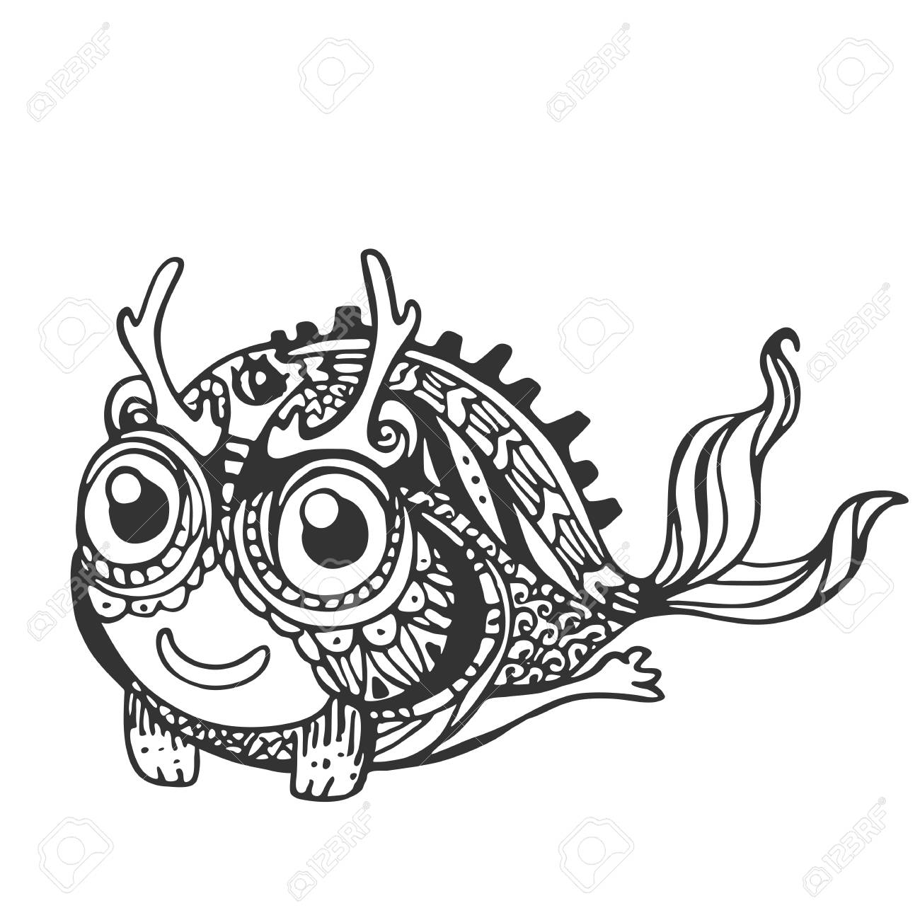 1300x1300 Decorative Stylized Mystical Creatures, Drawing By Hand. Vector