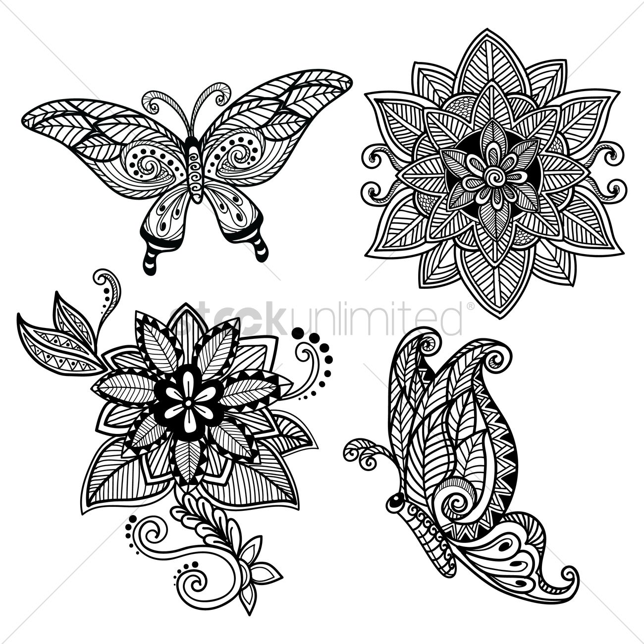 1300x1300 Decorative Butterfly And Flower Set Vector Image