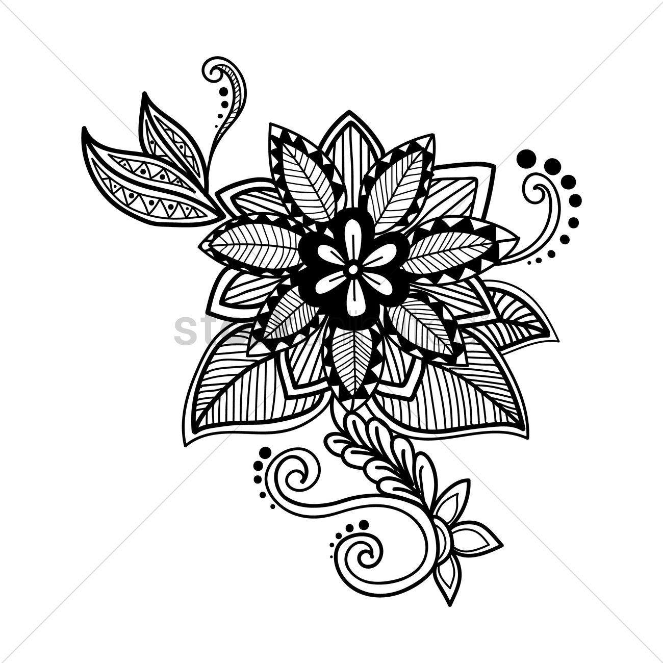 1300x1300 Decorative Flower Design Vector Image
