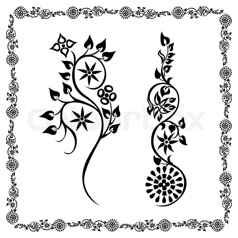 800x800 Drawing Swirling Silhouette Flower Frame Floral Decorative