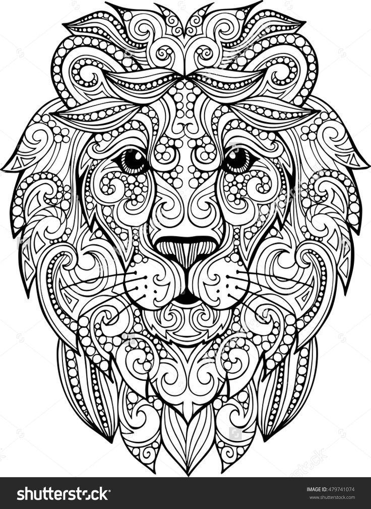 736x1009 Hand Drawn Doodle Zentangle Lion Illustration. Decorative Ornate