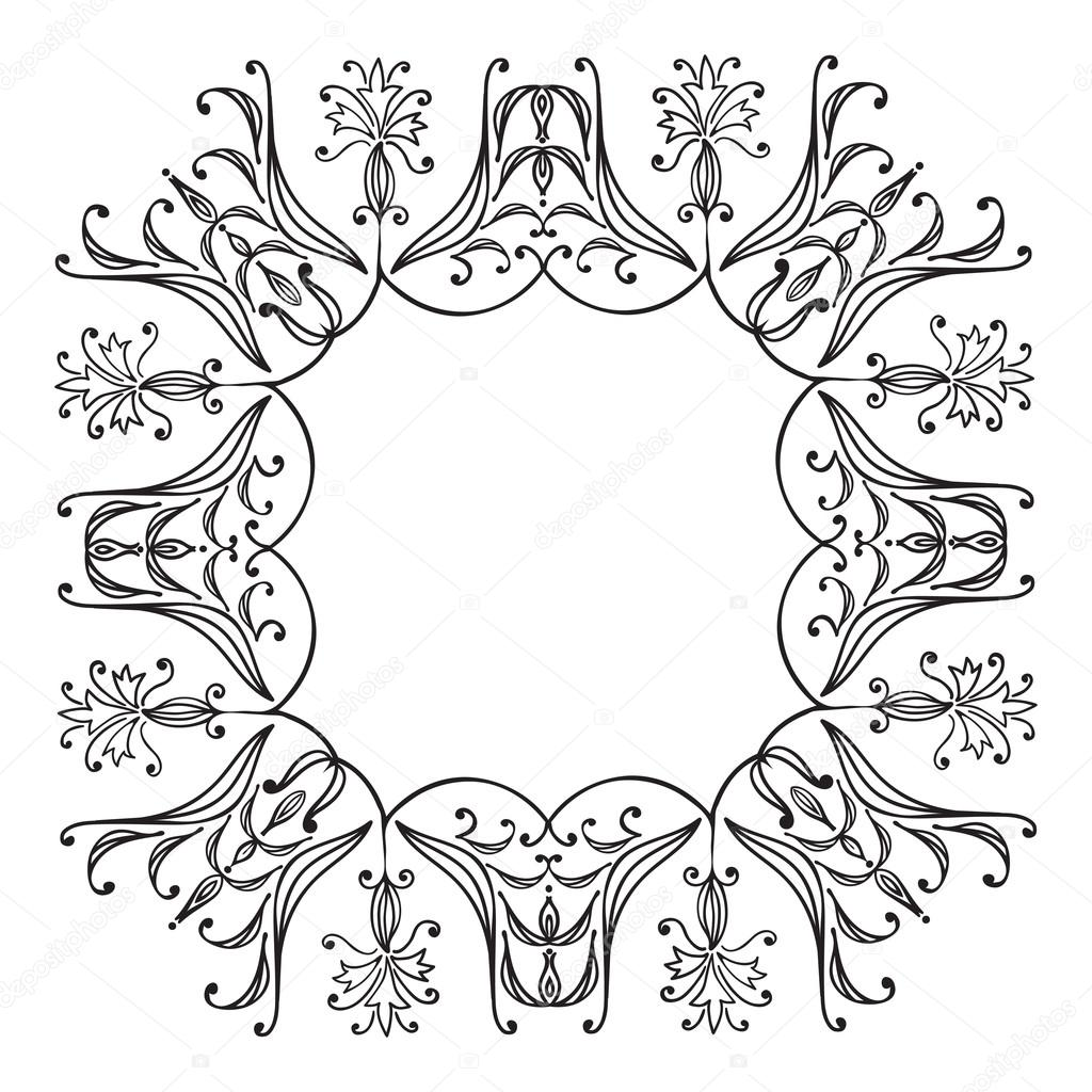 1024x1024 Hand Drawing Zentangle Floral Decorative Frame Stock Vector