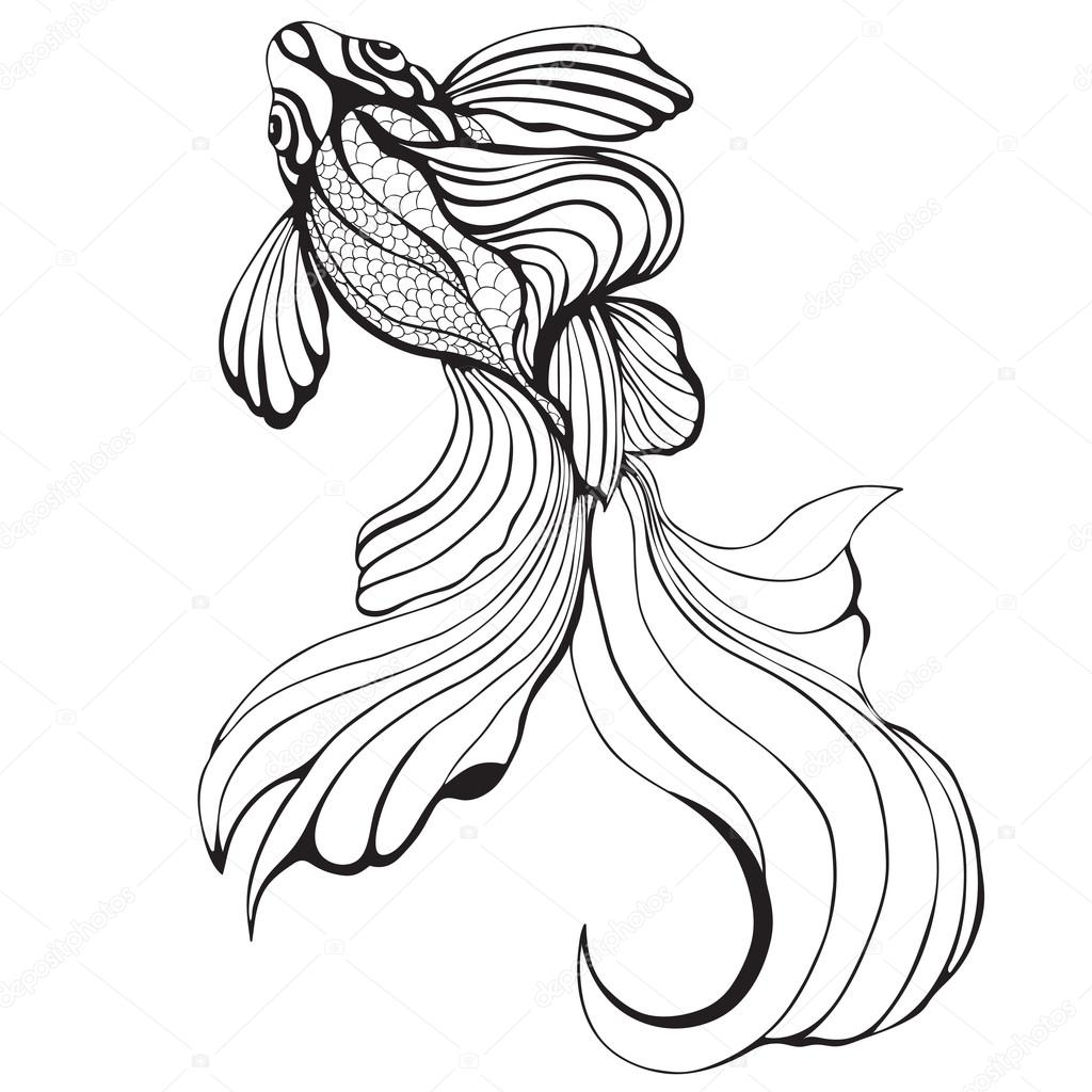 1024x1024 Abstract Fish, Sketch, Hand Drawing, Graphic. Decorative Element