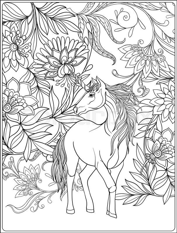 606x800 Unicorn In Magical Garden. Vintage Decorative Floral Pattern