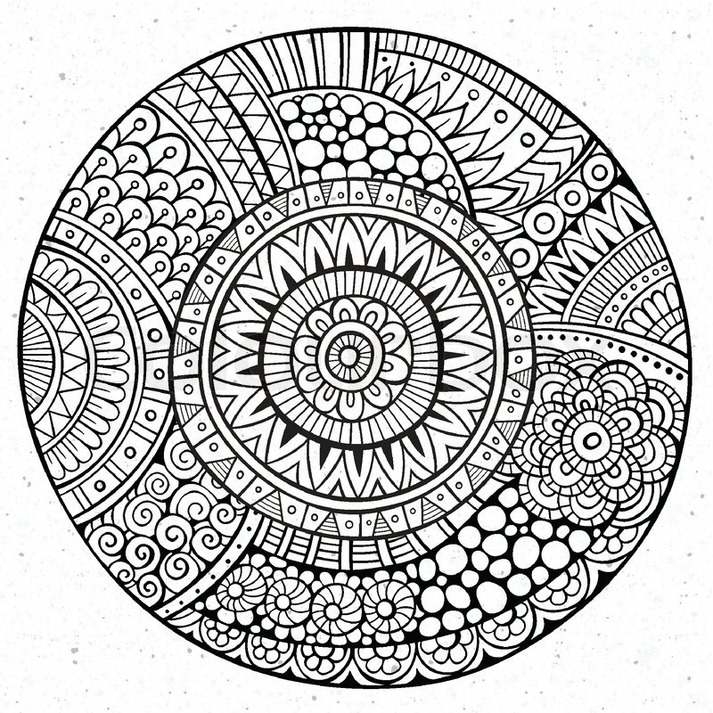 800x800 Vector Decorative Hand Drawn Circle Sketch Background Stock