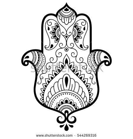 450x470 Vector Hamsa Hand Drawn Symbol. Decorative Pattern In Oriental