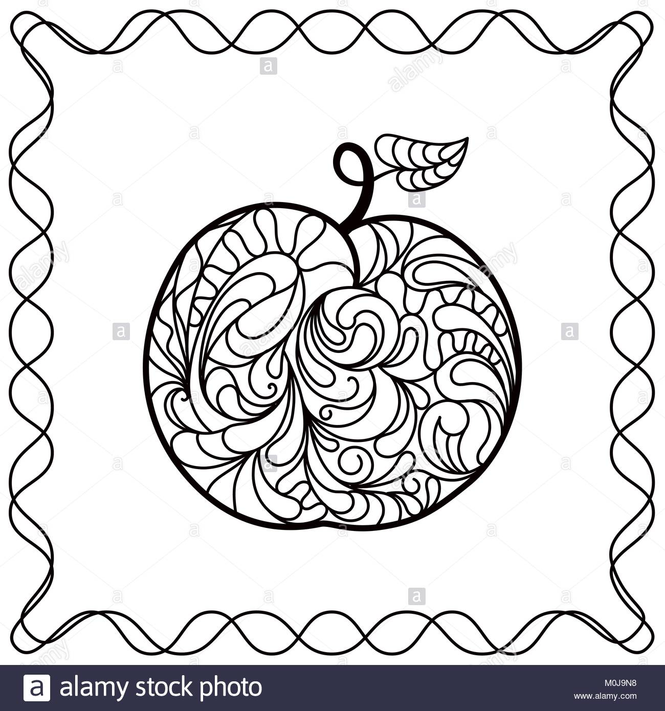 1300x1390 Apple Hand Drawing Filled With Decorative Ornamental Pattern