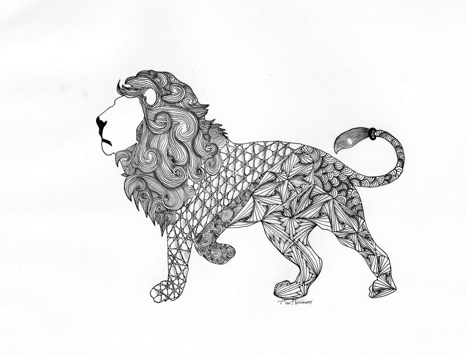 1600x1223 Cool Lion By Ann Hathaway, Czt (Certified Zentangle Teacher