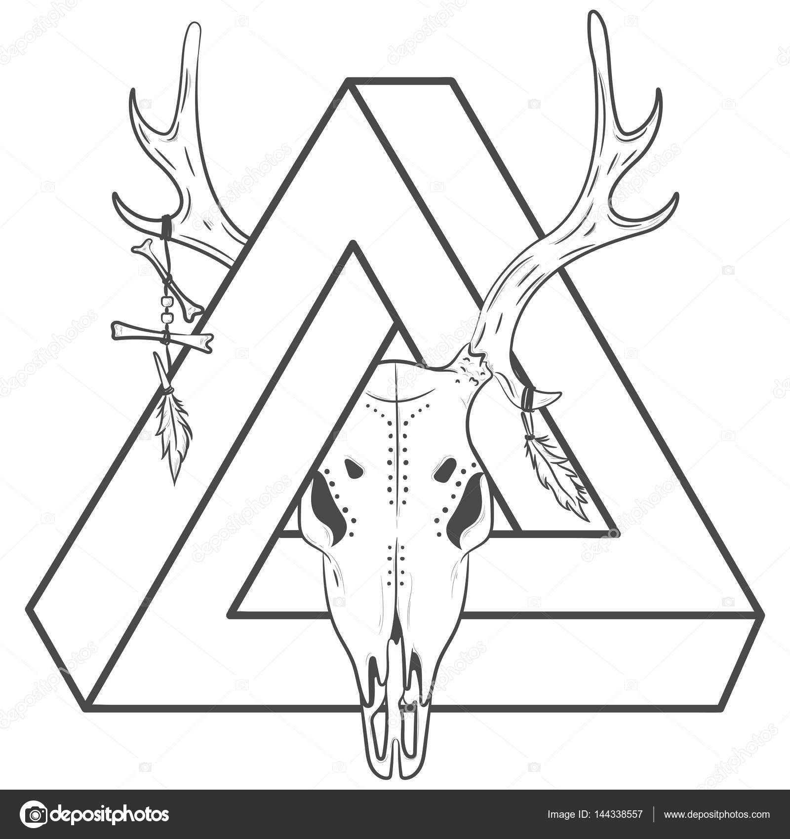 1600x1700 Vector Print Deer With A Triangle. Deer Skull And Triangle Stock